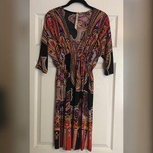 Orange & Black Patterned V-Neck Dress with Sleeves